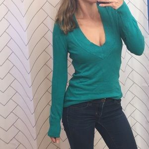 💚 Express V Neck Ribbed Long Sleeve Sweater